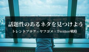 トレンドブログ×ヤフコメ×Twitter戦略